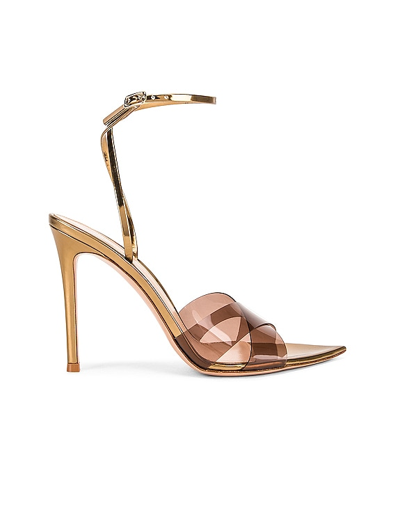 Stark Plexi Ankle Strap Heels in Blush & Gold