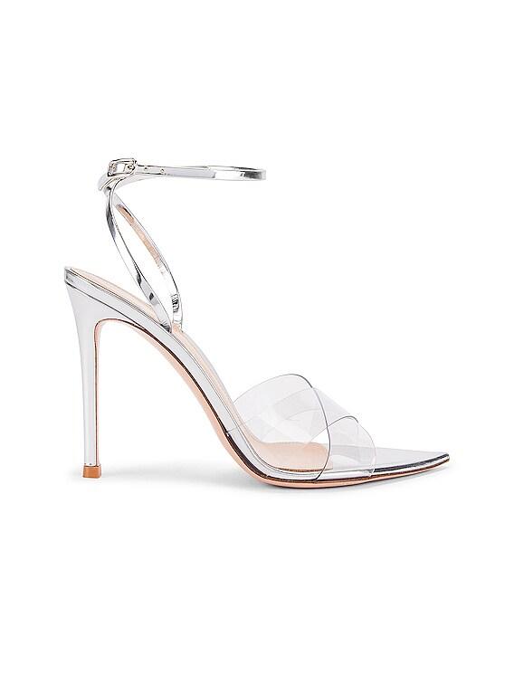Stark Ankle Strap Heels in Transparent & Silver