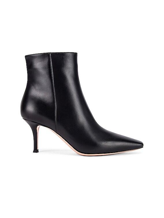 Vitello Kitten Heel Booties in Black