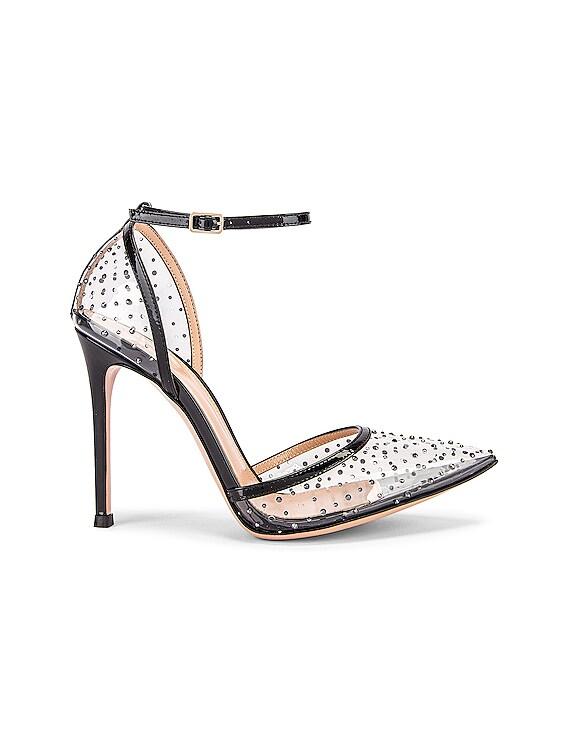 Polka Dots Ankle Strap Heels in Black & Transparent