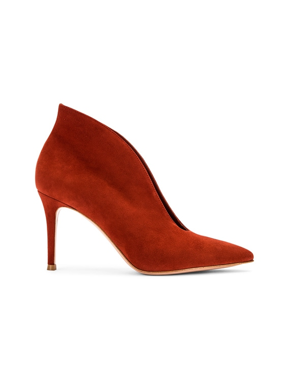 Suede Open Heels in Crimson