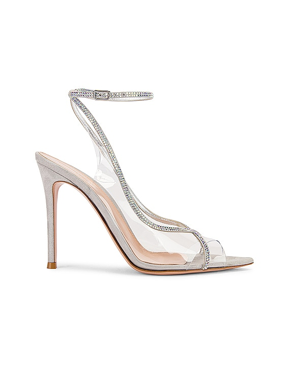 Ankle Strap Heels in Transparent & Silver