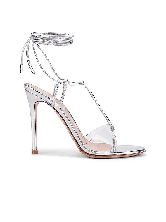 Plexi Strappy Heels in Silver & Transparent