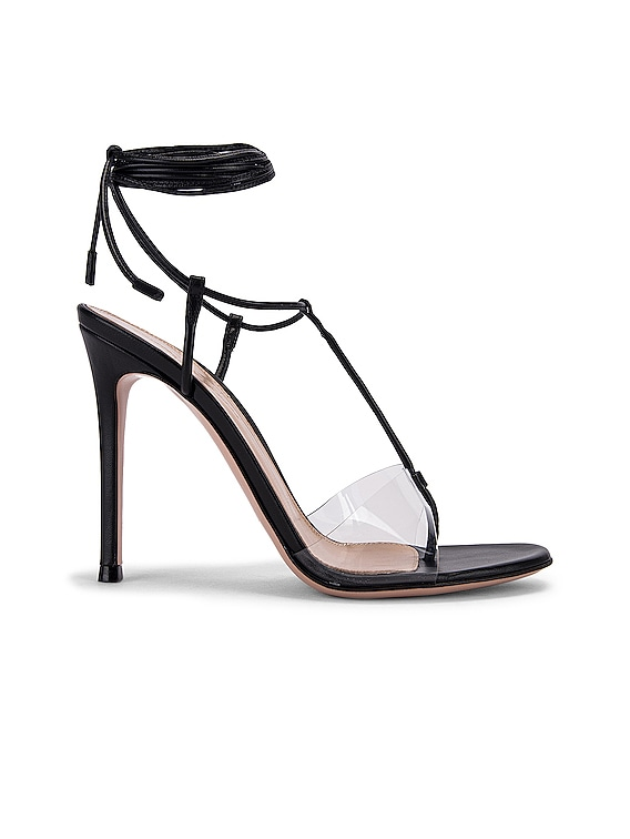 Plexi Strappy Heels in Black & Transparent
