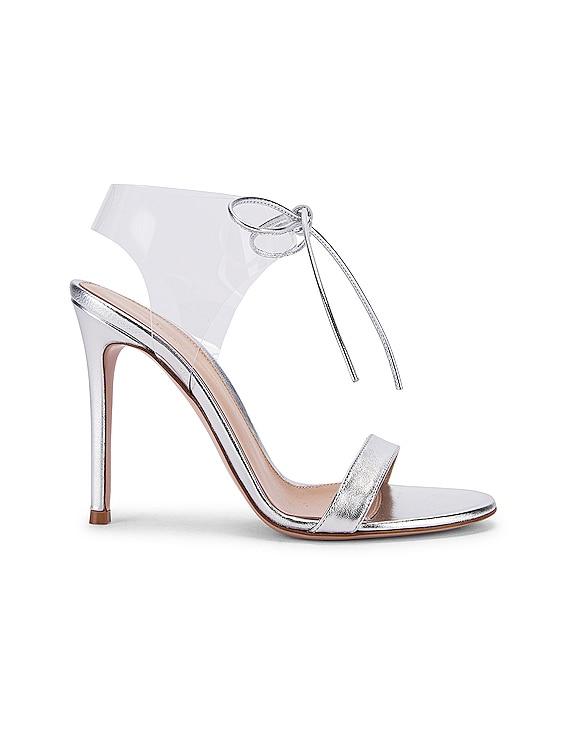 Plexi Tie Heels in Silver & Transparent