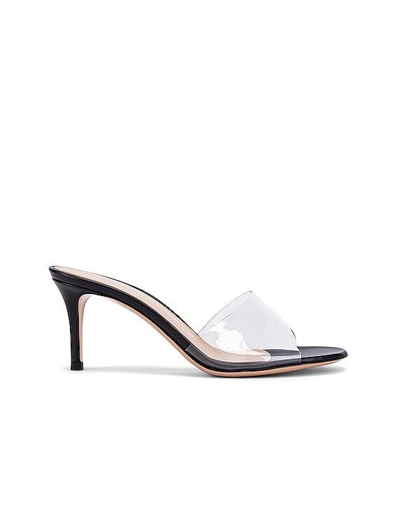 Plexi Mules in Transparent & Black