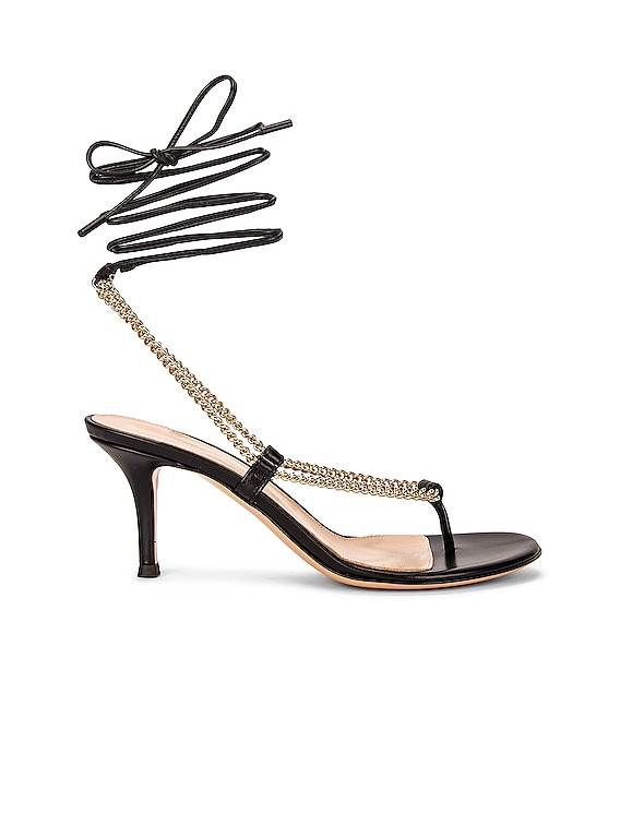 Chain Tie Sandals in Black