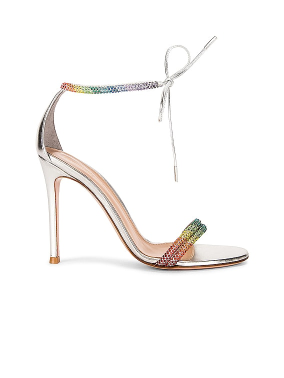 Ankle Strap Pumps in Silver & Rainbow