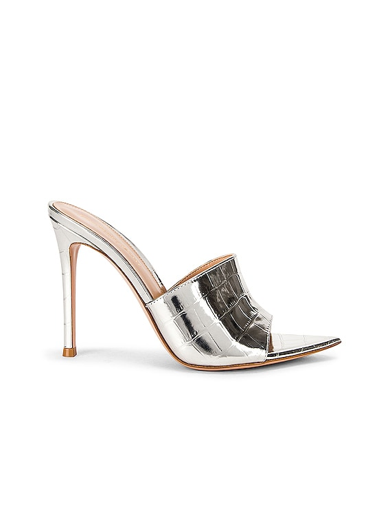 Croc Mules in Silver