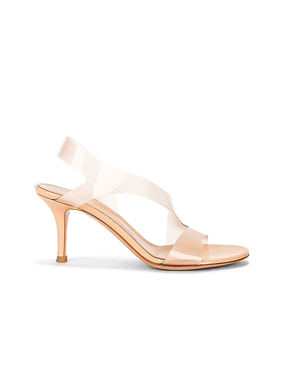 Metropolis Leather & Transparent Heels in Nude & Nude