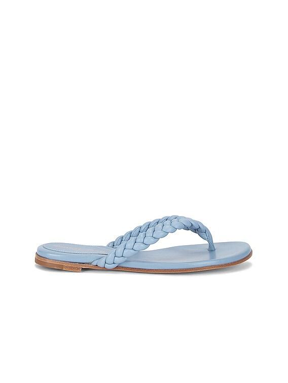 Tropea Leather Flat Sandals in Stonewash