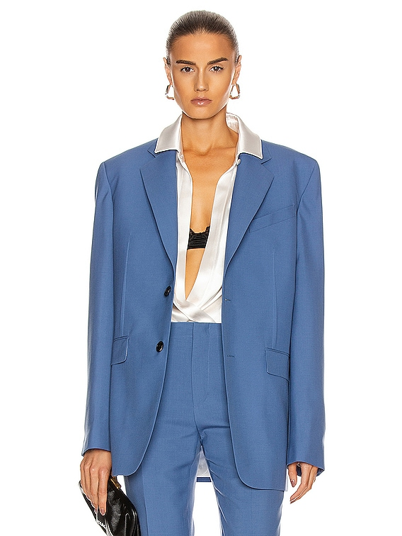 Notch Lapel Jacket in Steel Blue