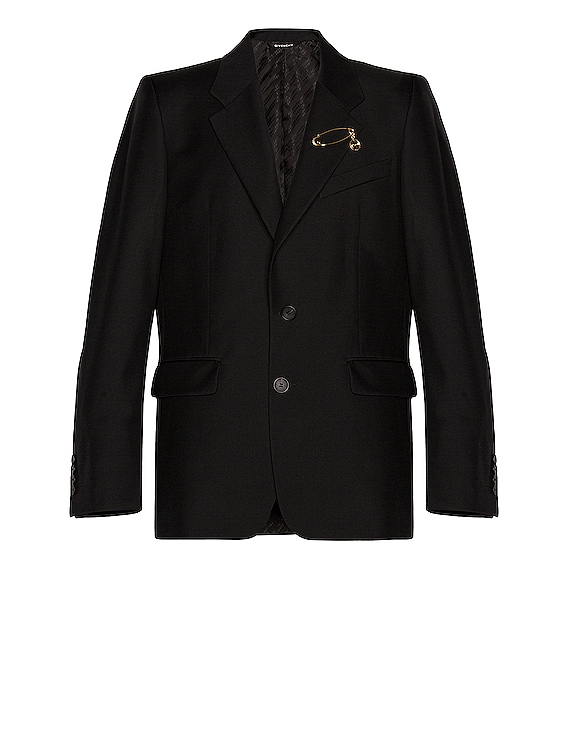 2 Button Notch Lapel Jacket with Pin in Black