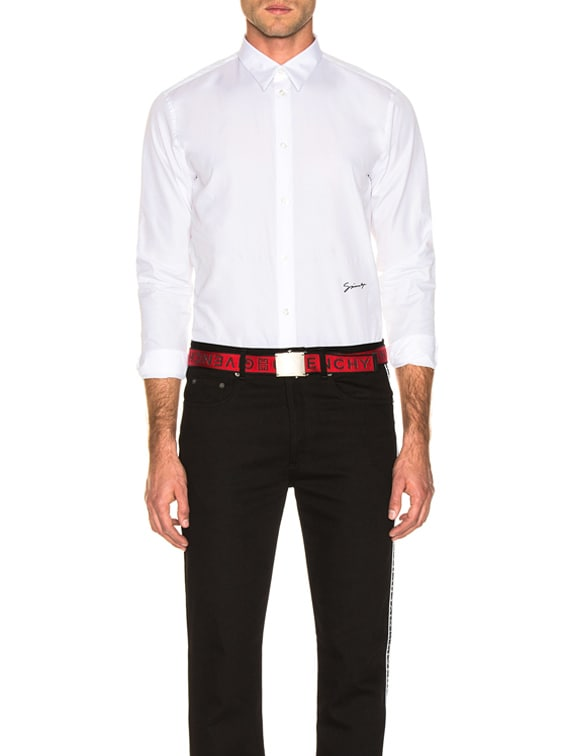 Givenchy Embroidered Shirt in White & Black | FWRD