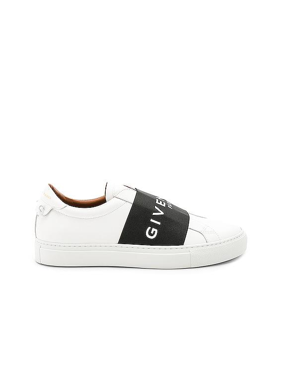 Elastic Sneakers in White & Black