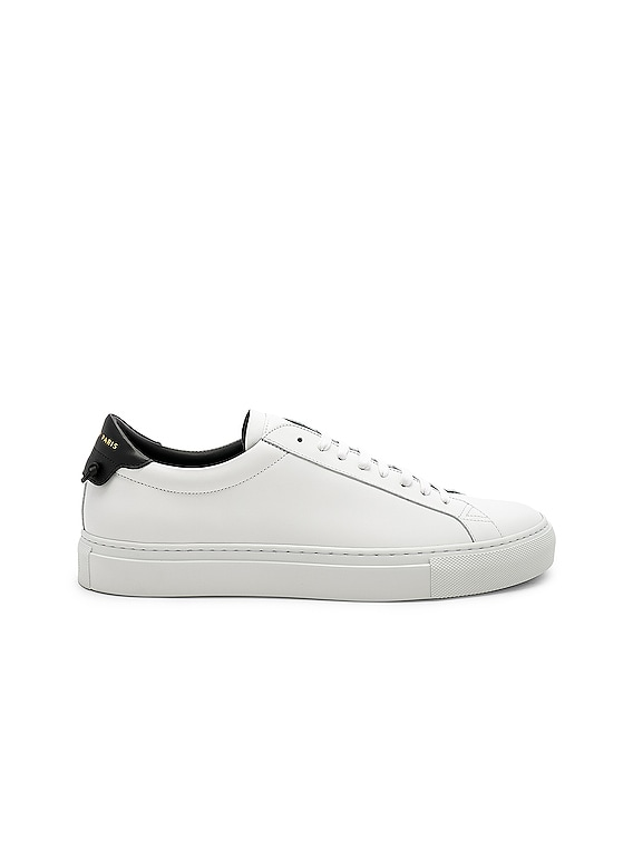 Leather Low Sneakers in White & Black