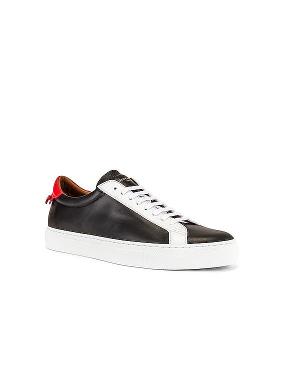 Urban Street Low Top Sneaker in Black & Red & White