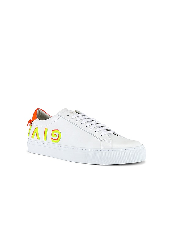 Low Top Urban Street Givenchy Letter Sneaker in White & Orange