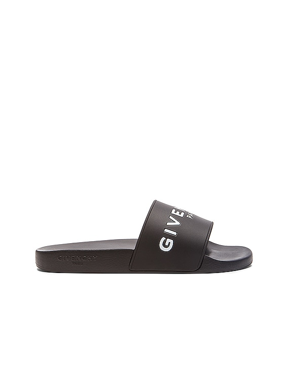 Polyurethane Slide Sandals in Black