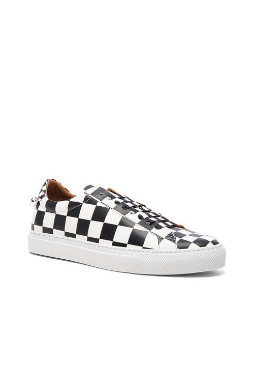 Leather Urban Street Low Sneakers in Black & White