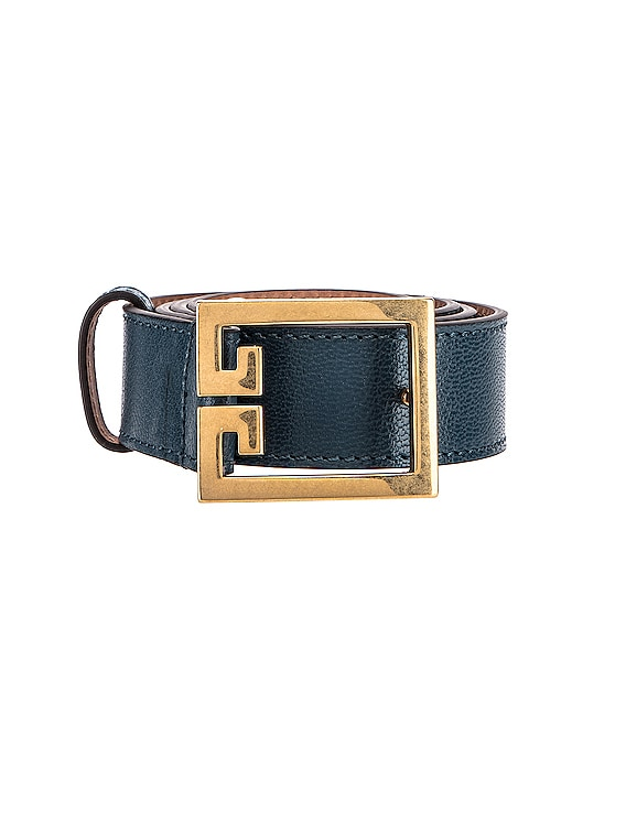 GV3 Leather Buckle Belt in Oil Blue