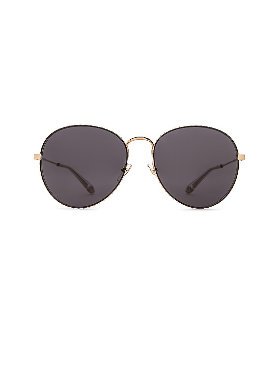 Metal Round Sunglasses in Gold & Grey Blue