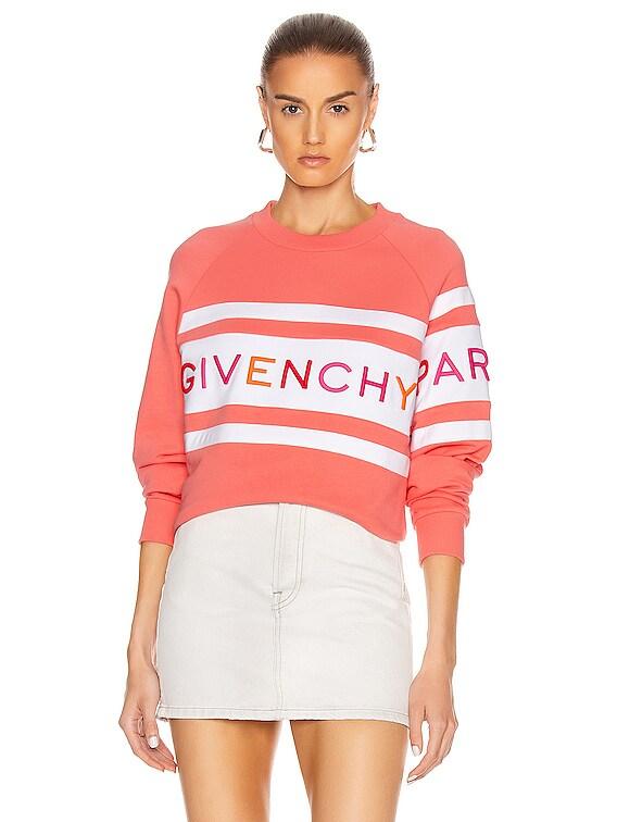 Raglan Long Sleeve Sweatshirt in Coral & White