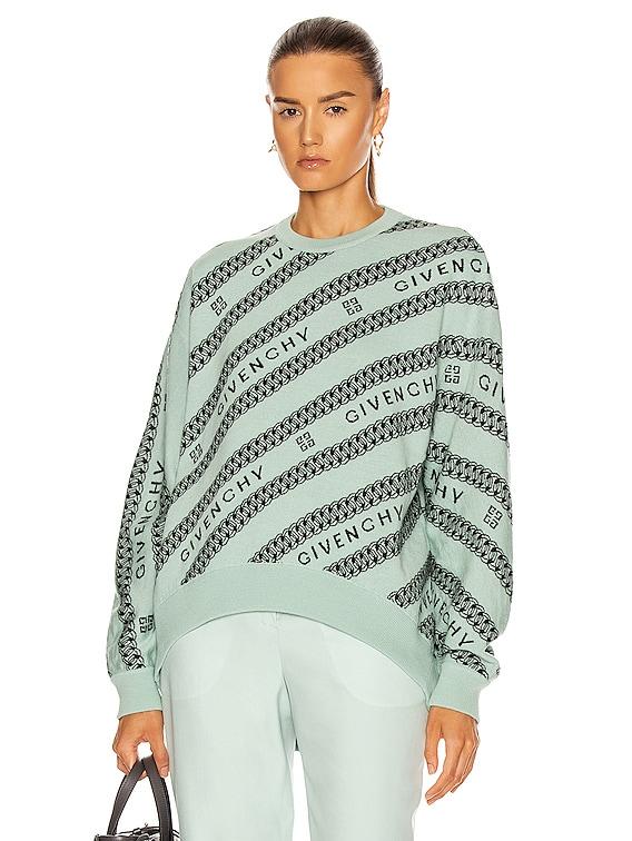 Chain Logo Jacquard Sweater in Green & Black