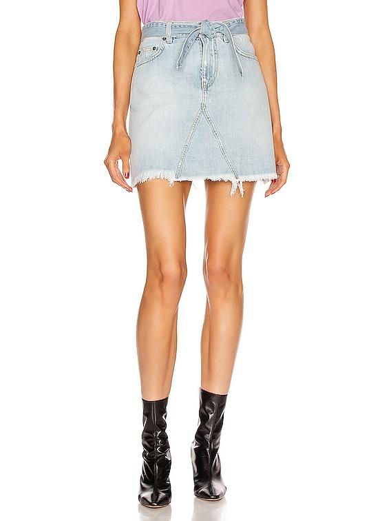 A Line Denim Mini Skirt in Blue