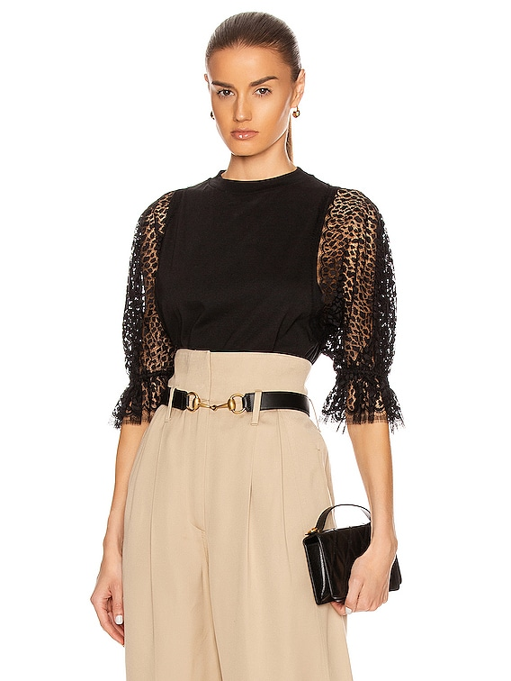 Lace Sleeves Top in Black