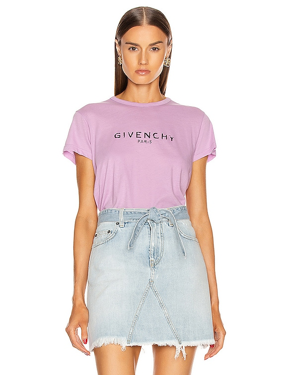 Fitted Short Sleeve T Shirt in Mauve