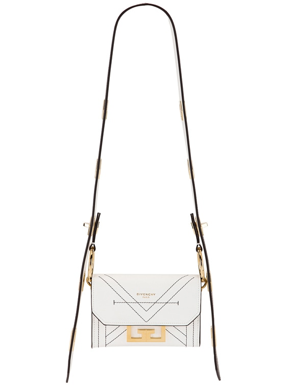 Nano Eden Leather Contrasted Details Bag in White