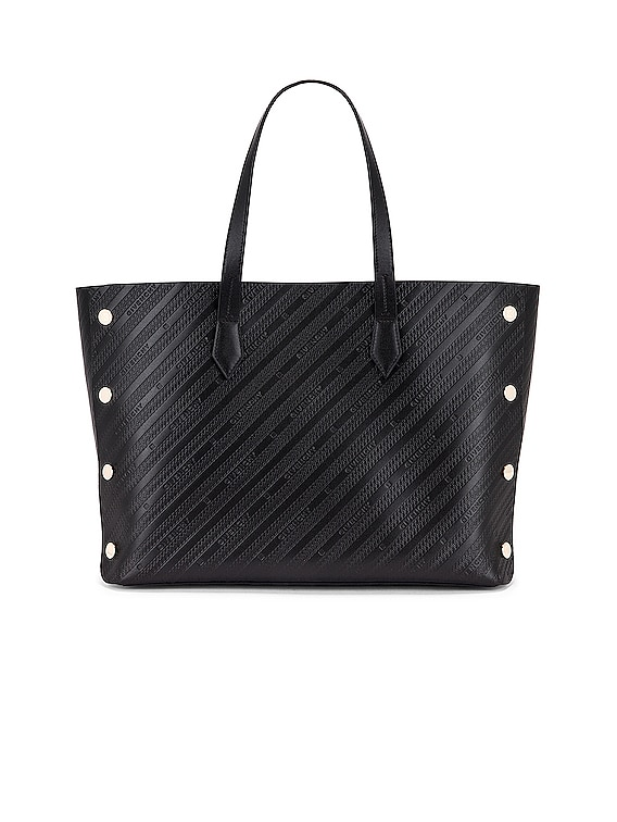 Medium Bond Chain Embossed Leather Tote in Black