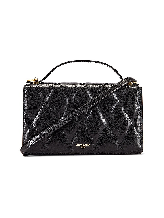 GV3 Quilted Leather Strap Wallet Bag in Black