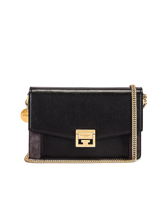 GV3 Leather & Suede Wallet on Chain Bag in Black & Grey