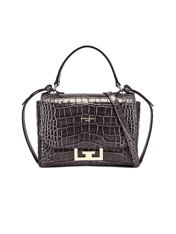 Mini Embossed Croc Eden Bag in Storm Grey