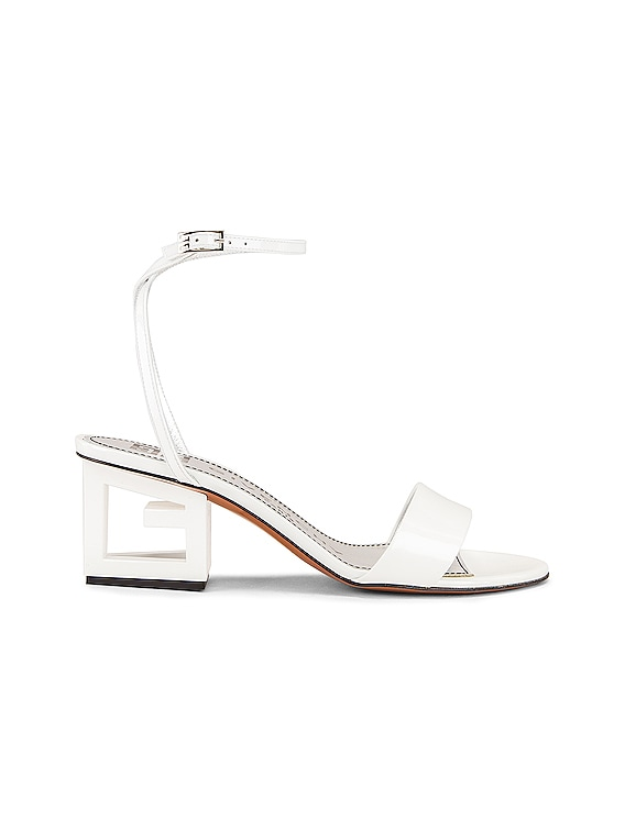 Patent Leather Triangle Heel Strap Sandals in Off White
