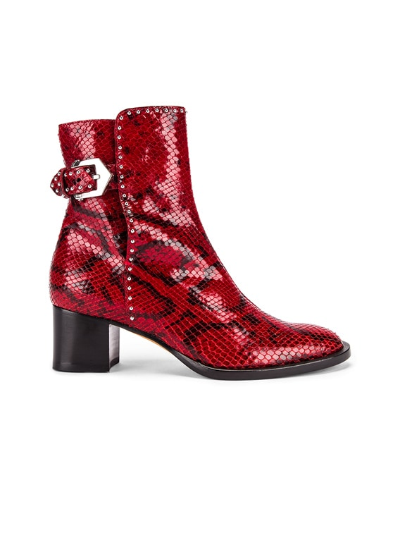 Elegant Heel Ankle Boots in Red