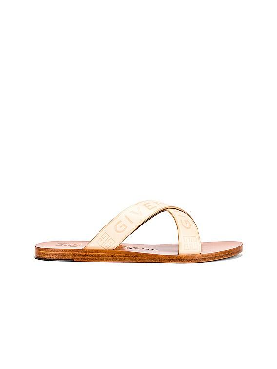 Strap Criss Cross Flat Sandals in Desert