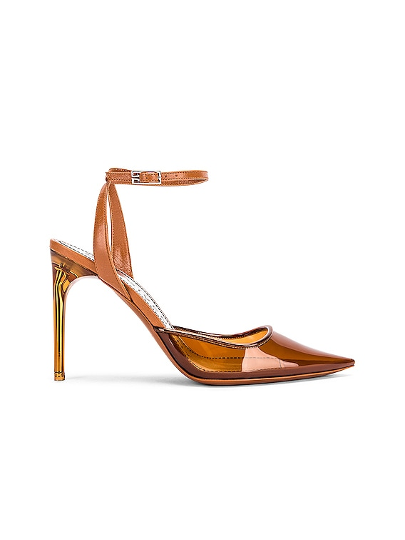 Couture Stiletto Ankle Strap Heels in Cognac