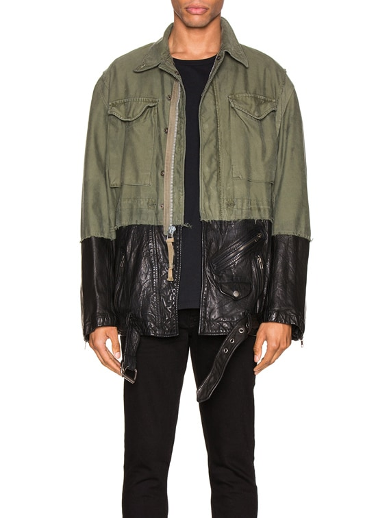50/50 M51 Leather Jacket in Army