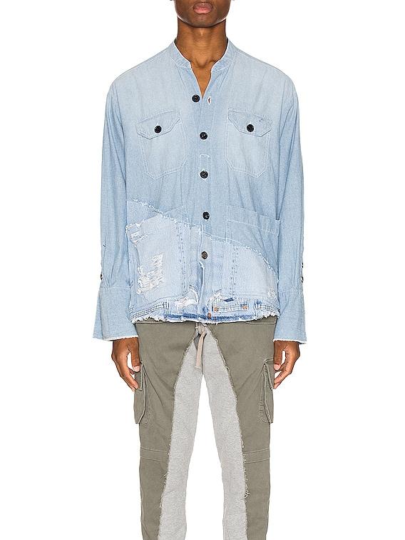 50/50 Chambray Denim Boxy Studio Shirt in Blue