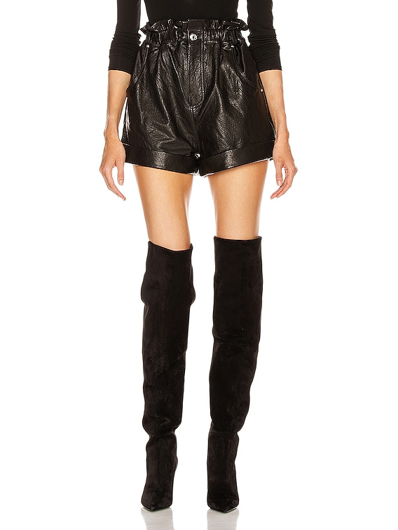 Shea Leather Shorts in Black