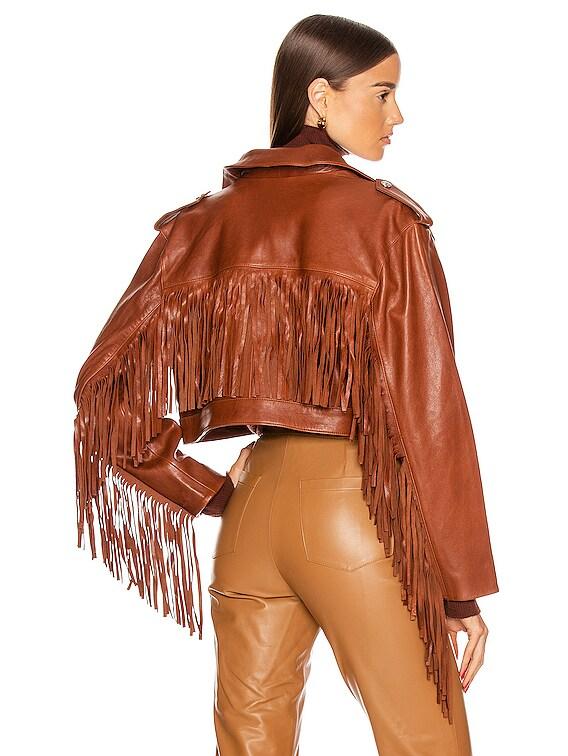Sadie Leather Fringe Jacket in Brown