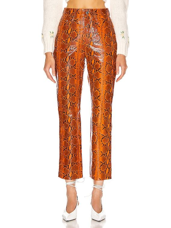 Shiloh Leather Pant in Orange Snake