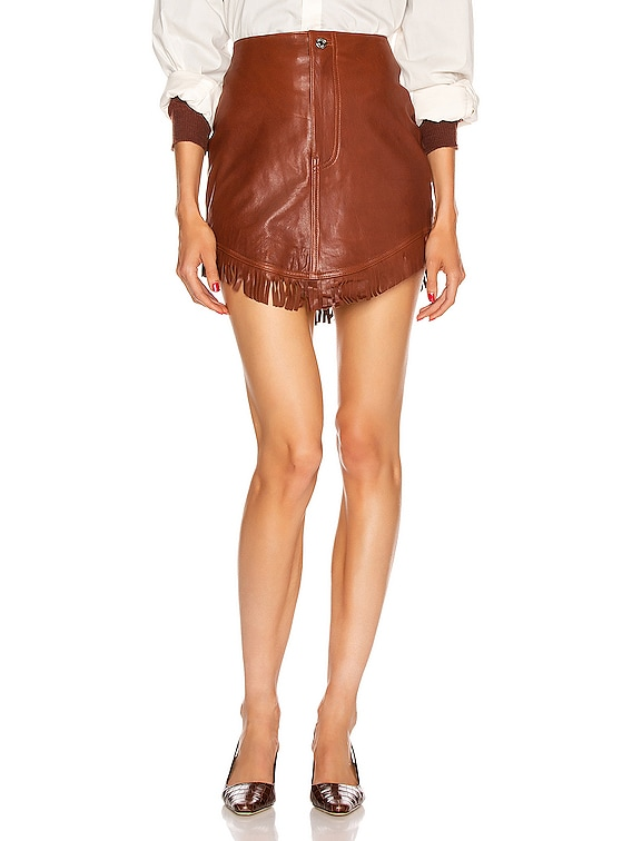 Sadie Leather Fringe Mini Skirt in Brown