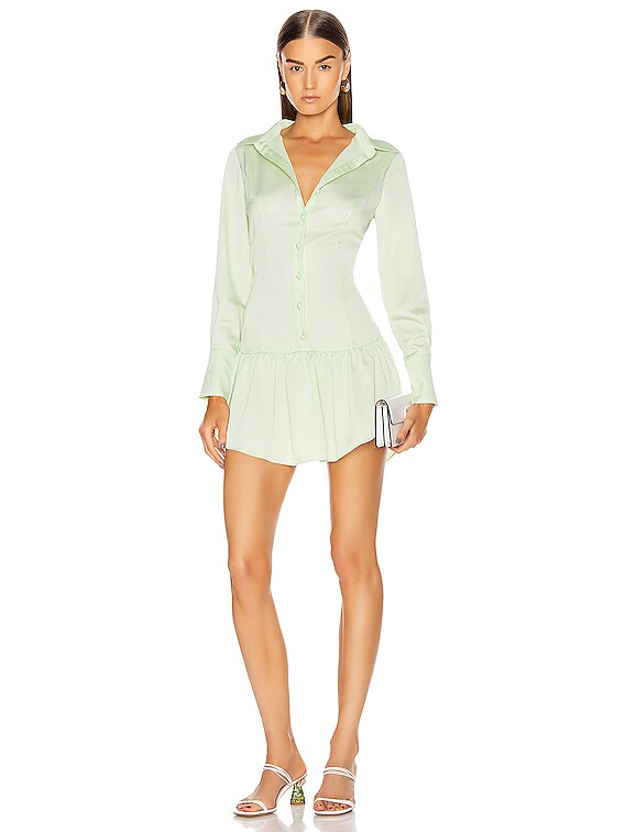 Malcolm Button Down Dress in Mint
