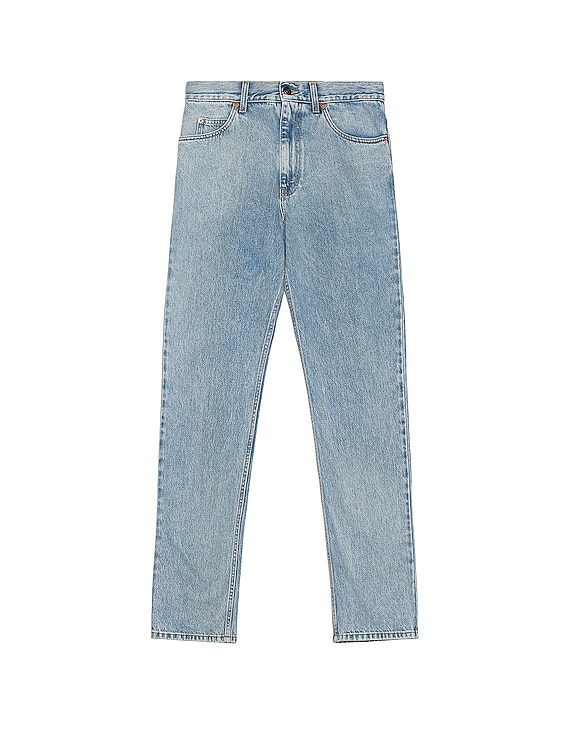 Washed Denim Jeans in Light Blue