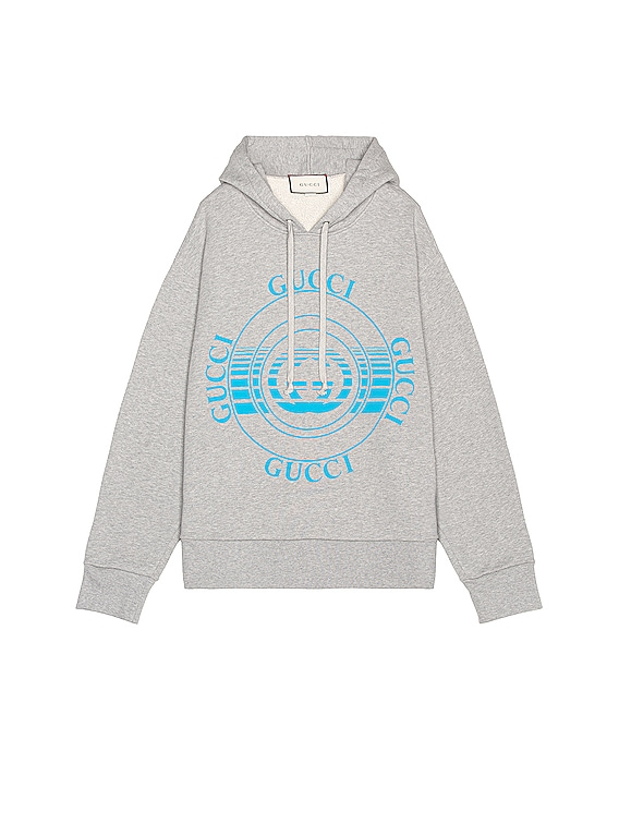 Cotton Jersey Hoodie in Medium Grey & Cobalt