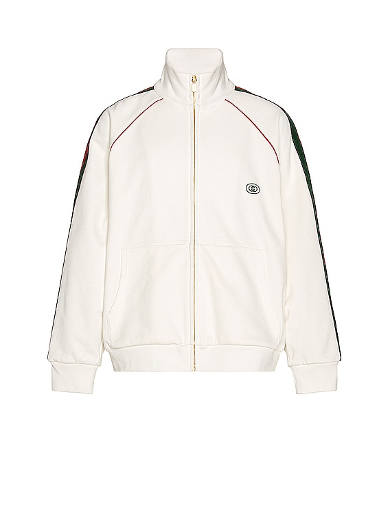 Track Jacket in Ivory & Green & Red